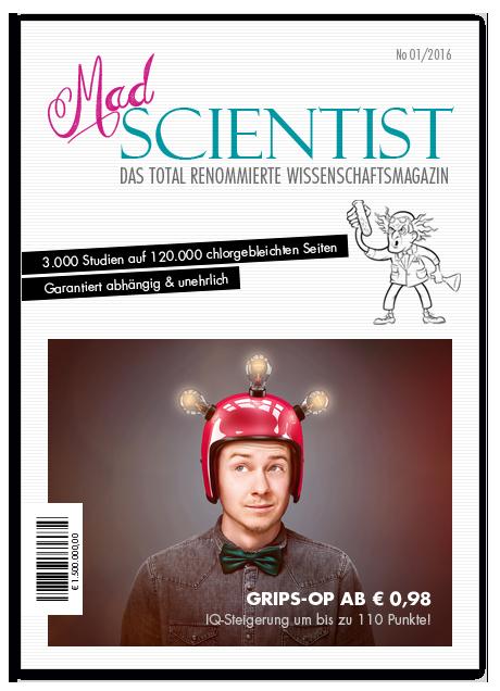 Satire-Magazin-Cover: Mad Scientist